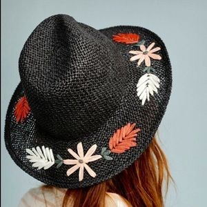 Anthropologie Embroidered Hat Fedora Floral  Brim